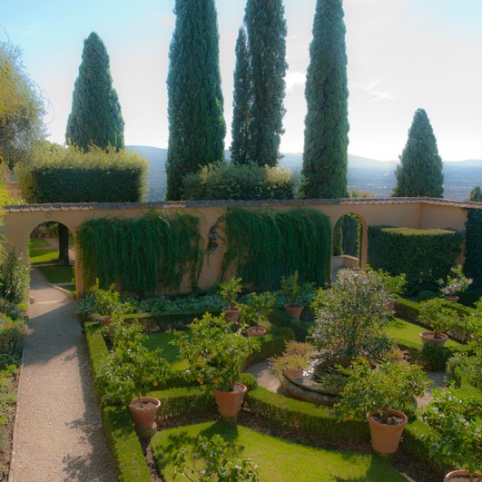 looking to the downhill side of garden at Villa Le Balze
