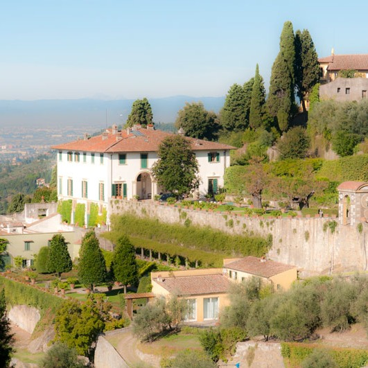 Florence's Villa Medici at a distance showing terraced garden rooms