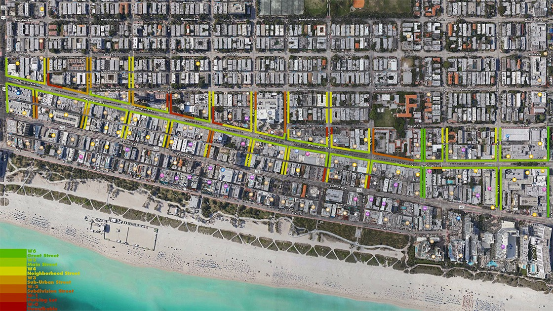 South Beach's Washington Avenue is diagnosed for Walk Appeal in this satellite photo and diagram